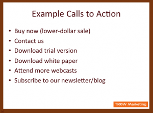 Example Webcast Calls to Action