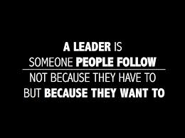 "quote: ""A leader is someone people follow not because they have to but because they want to."""