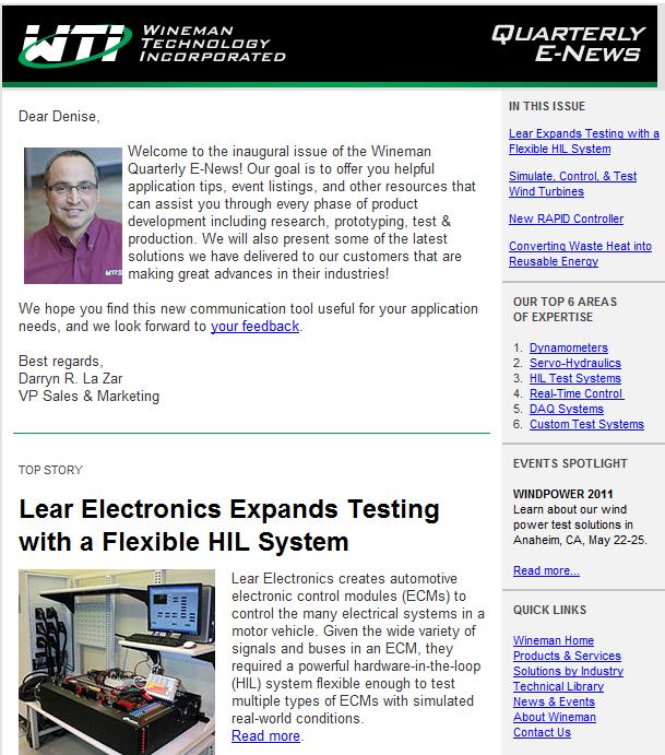 newsletter example 1