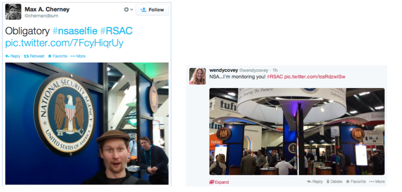Having fun with the NSA, including #nsaselfie became a bit of a fun thing at RSAC