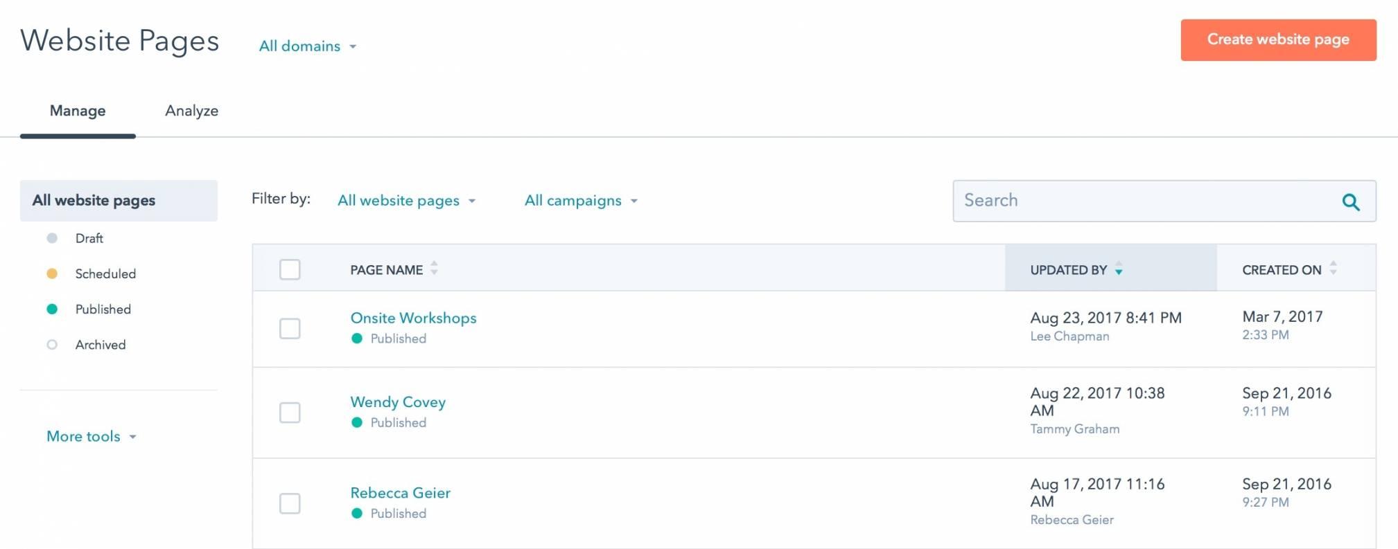 A screenshot of Hubspot's COS or CMS.