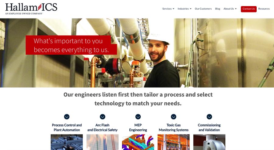 Hallam-ICS uses its key message on its homepage