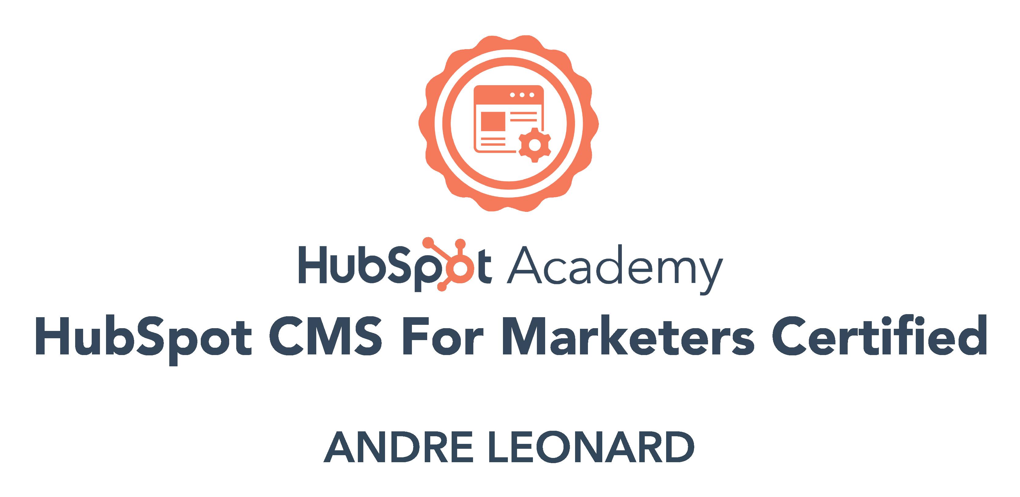Andre - HubSpot CMS certification