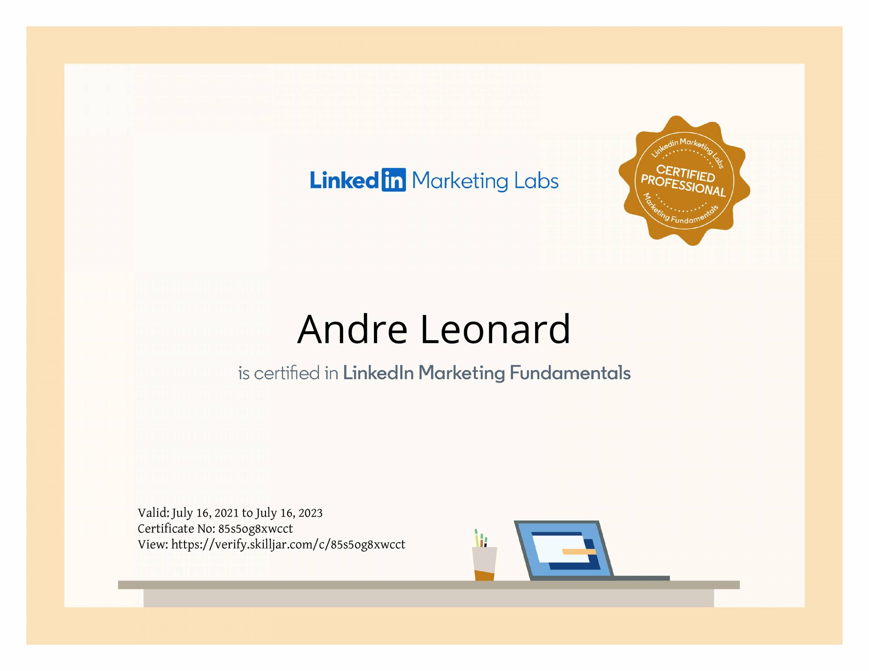 Andre-LinkedIn-certificate