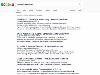 SERP page example