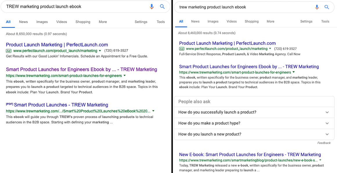 Search results before and after