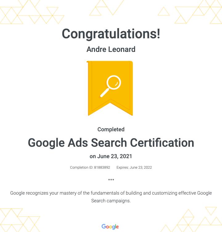 Google Ads Certification - Andre