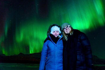 Lisa Richter and Daughter enjoying the Northern Lights