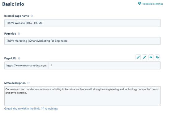Hubspot meta description entry