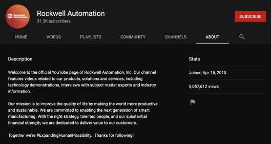 Rockwell Automation YouTube Channel About