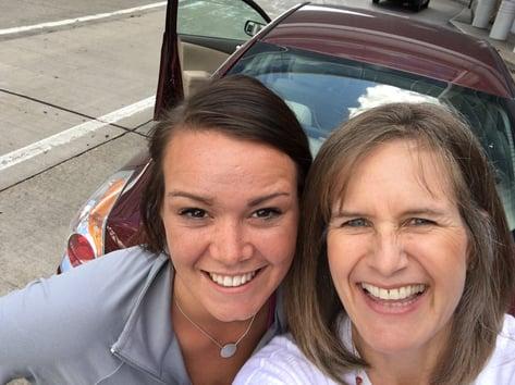 Rebecca Geier and Sarah Seward arriving at Content Marketing World