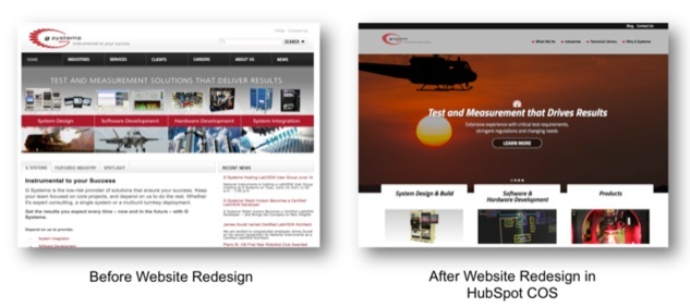 Website redesign before and after
