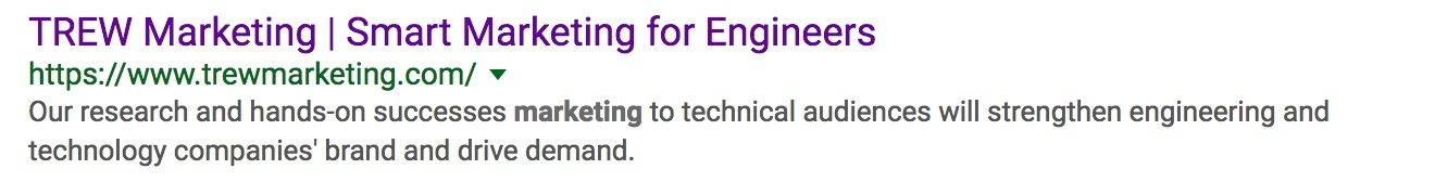 Example of a meta description showing up in Google SERPs